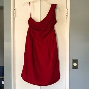 Red one-shouldered dress